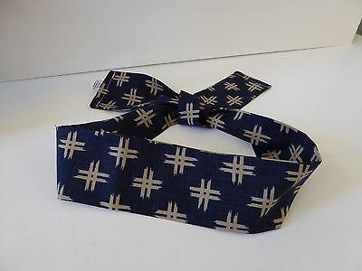 Japanese Hachimaki Headband KASURI Print Sushi Chief, Sports/ Cotton Navy Blue for sale  Shipping to Canada