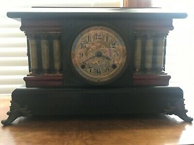 Antique Seth Thomas Adamantine Red Wood Mantle Clock