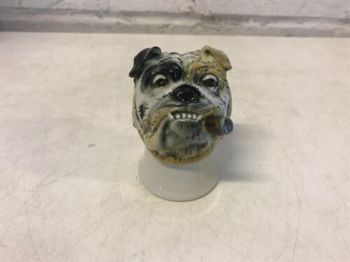 English Bulldog Head Figurine with Cigar in Mouth & Makers Mark Made in Germany
