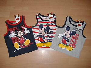 BOYS-DISNEY-MICKEY-MOUSE-T-SHIRT-SLEEVELESS-VEST-TOP-NAVY-RED-AGE-2-3-4-5-6-7-8