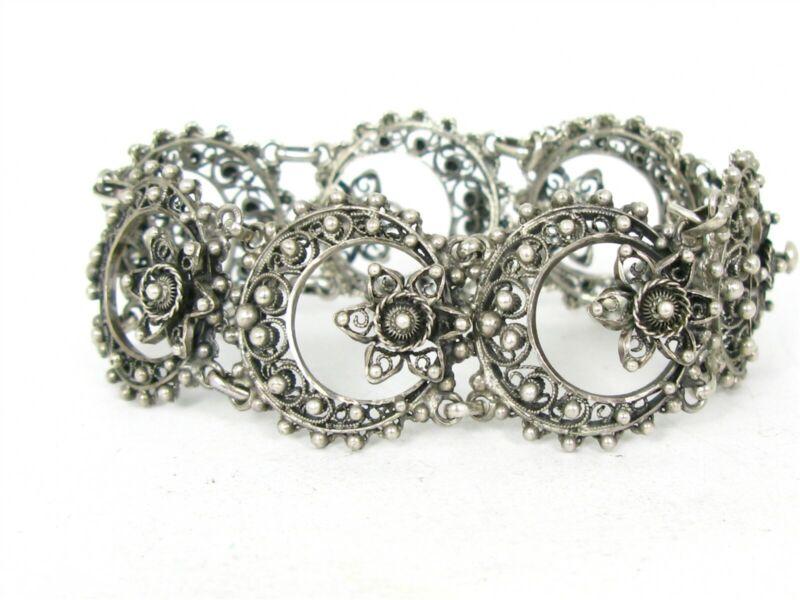 """Antique 835 Silver Egyptian Filigree Link Cannetille Bracelet 37.8g 7.75""""L B22"""