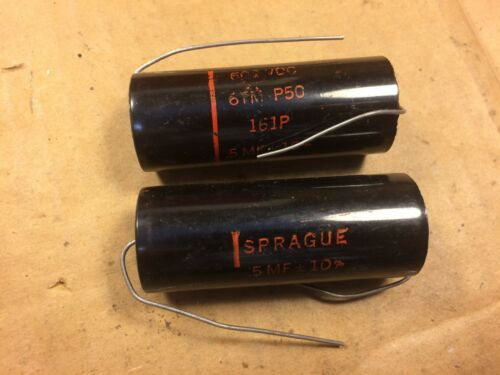 2 NOS Vintage Sprague Black Beauty .5 uf 600v Capacitors 161P Caps TESTED (Qty A