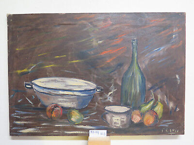 Painting To oil On Linen Signed Nature Still Inside With Items Kitchen VS3
