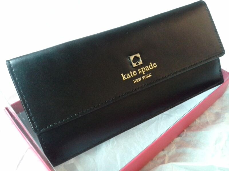 KATE SPADE NEW YORK AMELIA SAWYER STREET BLACK LEATHER WALLET