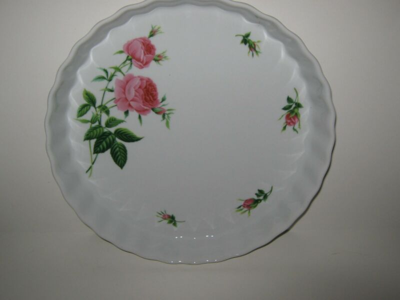 "Quiche Scalloped Pie Pan Plate 9.25"" Bake Dish Christincholm Pink Roses Design"
