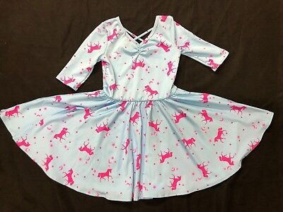 NEW dot Dot smile Ballerina Twirl Blue pink Unicorn dress Girls  - Blue Girls Dress
