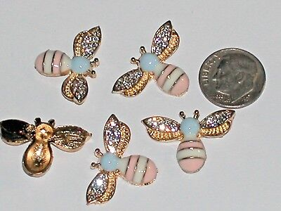 1pc. Miniature dollhouse tiny Golden Flatbacks Crystal Bumble Bee Ladybug 25mm