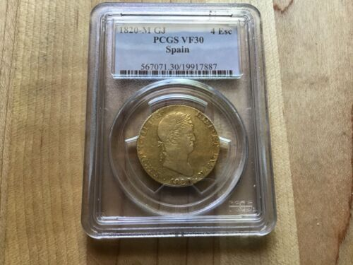 1820 M GJ Spain 4 Escudo Gold PCGS VF 30