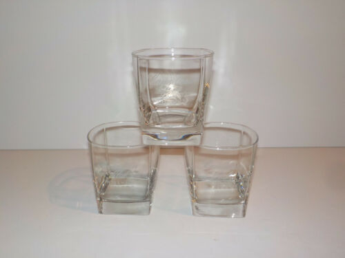 SET OF 3 CANADIAN CLUB WHISKY ROCKS GLASS LOW BALLS WITH SQUARE BASE