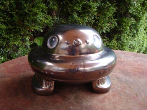 UFO Hand Painted Ceramic Lighted Spaceship Lamp