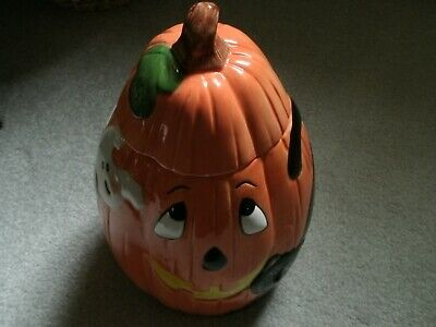 Used Halloween Cookie Jar/13 Inches Tall and 23 Inches Wide/Ghost and Black Cat