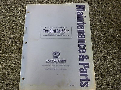 Taylor Dunn Gt370 Gt371 Tee Bird Golf Car Parts Catalog Service Repair Manual