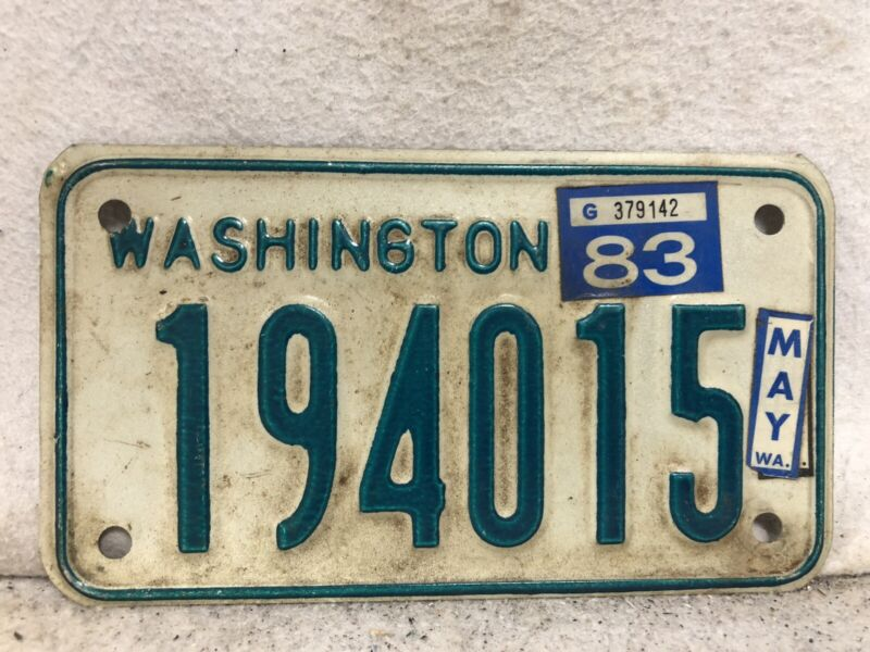Vintage 1983 Washington Motorcycle License Plate