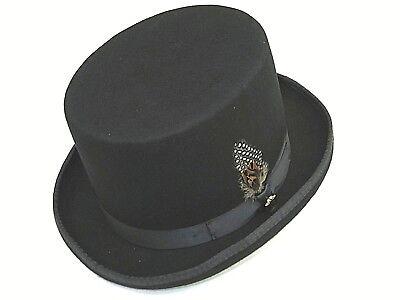 Mens BRUNO CAPELO 100% Wool Felt Top Hat Formal Tuxedo Magician headwear Black (100 Headwear)