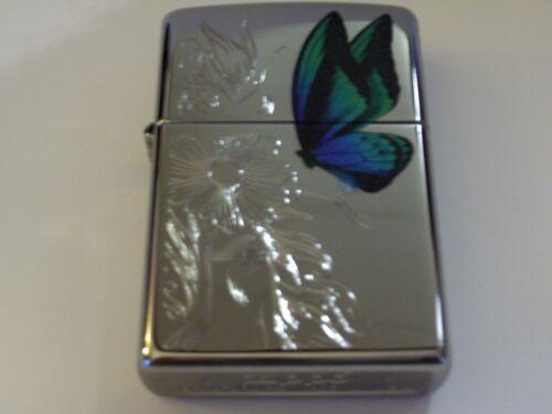Zippo Dazzling Butterfly Engraved Flowers High Polish Chrome Lighter