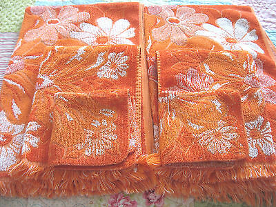 VTG 6 Pc Set 60s Orange Daisy Bath Towels Hand Towels Washcloths Retro Mod NICE!