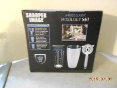 Sharper Image 3 Piece Mixology Metal Cocktail Shaker Strainer Set New in Box (Cocktail Shaker Set 3 Piece)