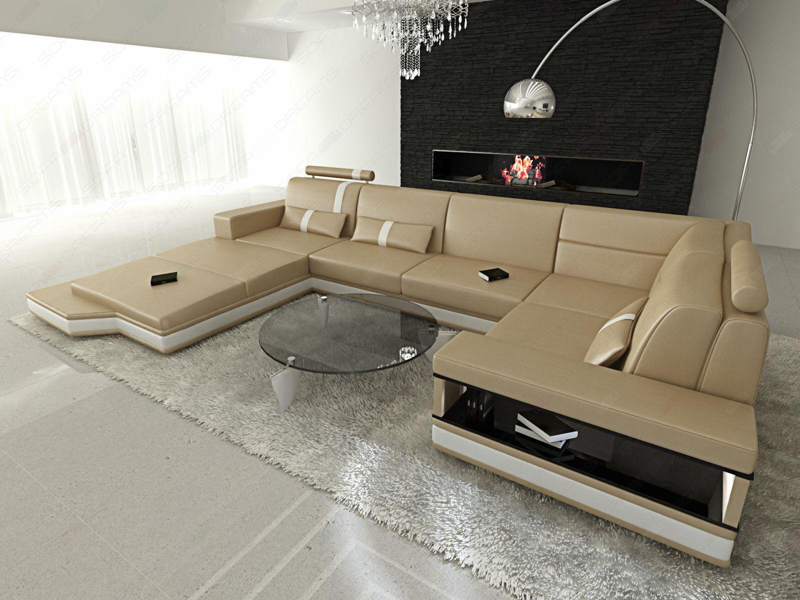 ledersofa messana designer sofa wohnlandschaft licht eur picclick de. Black Bedroom Furniture Sets. Home Design Ideas