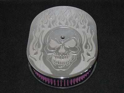 12 Oval Skull Flame Air Cleaner K&N Washable Filter Billet 6061 Aluminum Top (Oval Flame Top)