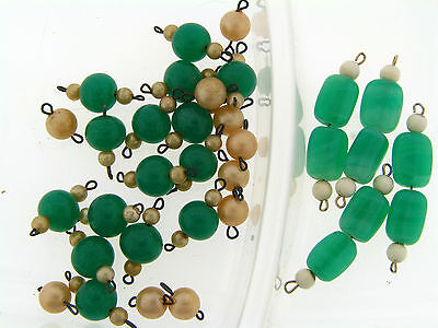 Vintage Japan Green Jade Glass & Faux Pearl Brass Bead Links Drop FInding Lot for sale  Shipping to India