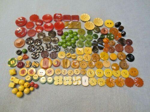 151 Vtg Small Bakelite Buttons 2 Color Butterscotch Flowers Carved Cog Wheels ++
