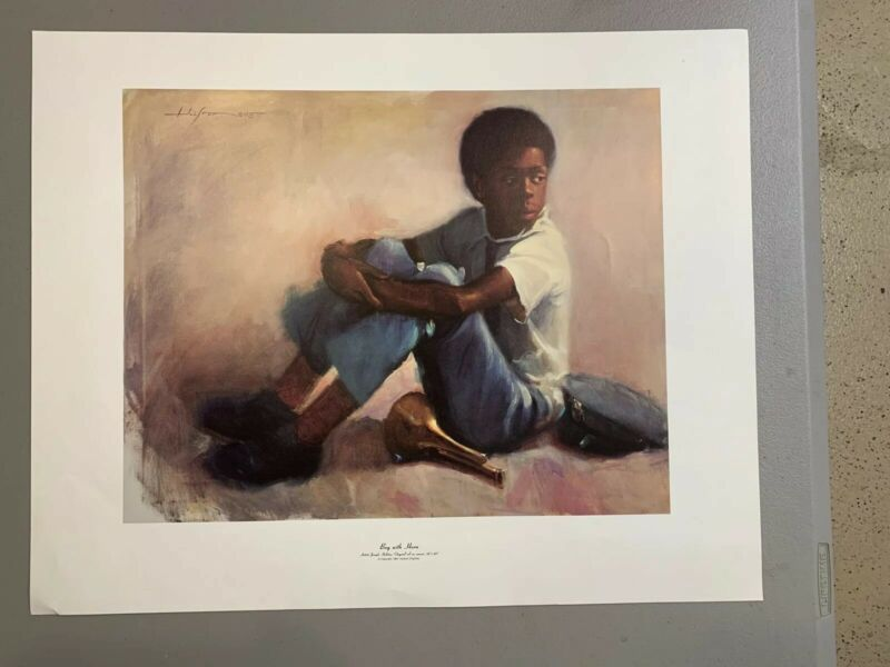 Boy With Horn by Joseph Holston Artist Lithograph 1984