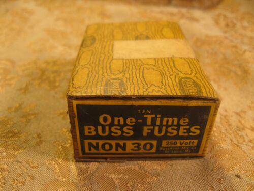 Lot 10 Buss NON 30 One Time Fuses 30 AMP 250 VOLTS NIB