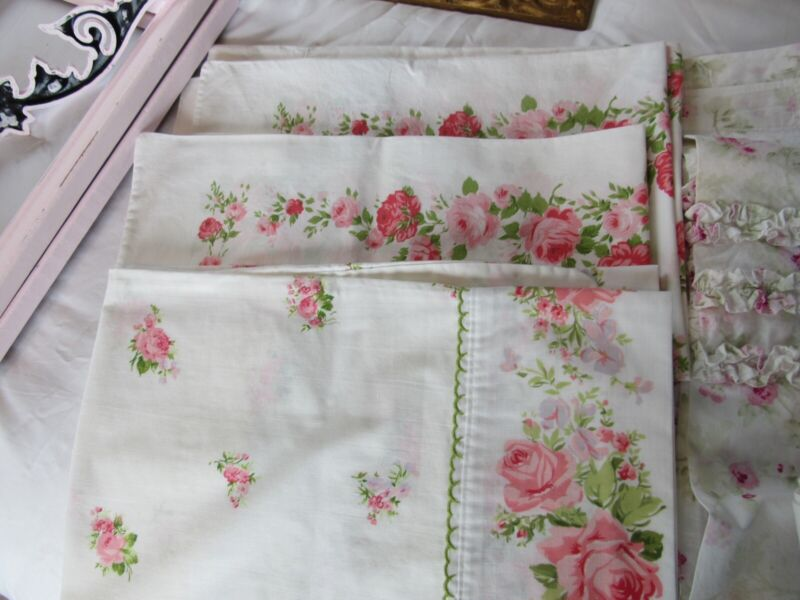3 Vintage Pillowcases LADY PEPPERELL & Spring maiden Cottage Chic Pink ROSEs