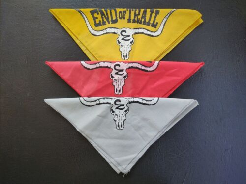 Vintage End of Trail Longhorn Bandanas Grey Red Yellow Cowboy Shooting Action