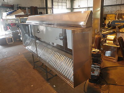 16 Ft.type L Commercial Kitchen Exhaust Hood With Air Chamber Blowers Curbs