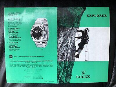 MINT AUTHENTIC 1969 VINTAGE ROLEX EXPLORER 1 1016 BROCHURE PAMPHLET From DEALER