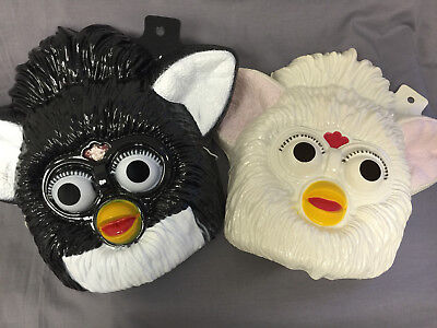 SET OF 2 BLACK AND WHITE FURBY HALLOWEEN MASKS PVC  - Halloween Mask White And Black