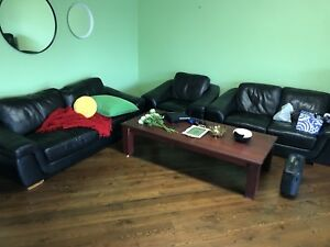 Large 3-set sofa and wooden table for sale
