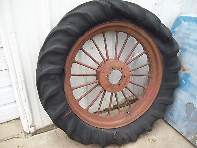 Vintage  F & H Rear Spoked Tractor Wheel & Old Tire McCormick International