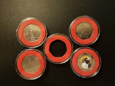 40 mm ACRYLIC COIN CAPSULES WITH LIGHT RED INSERT FOR 50 p coins(1,5,10,20 pcs)