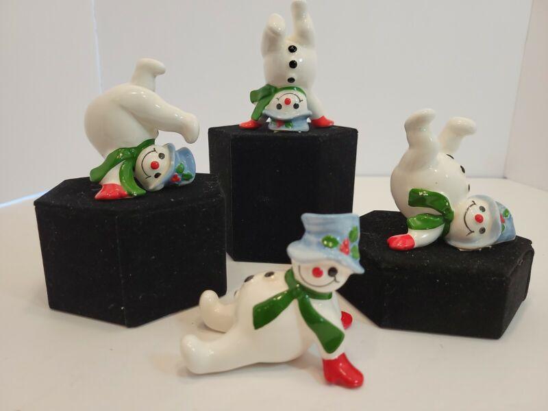Fitz Floyd 1978 Set of 4 Vintage Ceramic Snowmen Rolling Tumbling Christmas