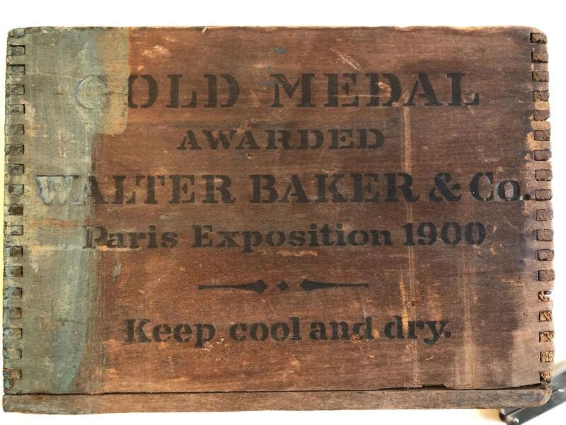 Antique Wood Box Walter Baker Chocolate Gold Medal Paris Exposition Dorchester
