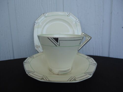 vintage art deco alfred meakin princess shape marigold tea trio cup & saucer set