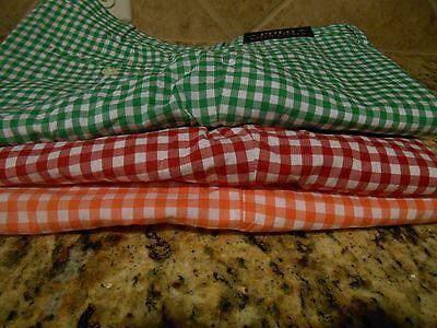 New Polo Ralph Lauren Shorts Gingham Green Orange Red 29 31 32 33 34 36 50 X (Green Gingham Shorts)
