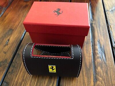 Genuine Ferrari Desk Business Card Holder In Brown Leather Extremely Rare Italy