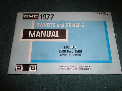 1977 GMC TRUCK OWNER'S MANUAL / 1500-3500 ORIG. PICKUP SUBURBAN JIMMY GUIDE BOOK