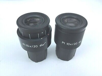 Zeiss Microscope Pl 10x 20 Glasses Pair Eyepieces 44 40 31 444032 30mm Tubes