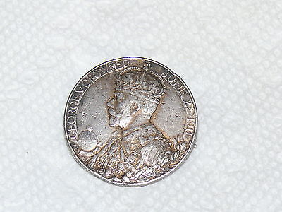 George V Crowned Coronation Silver Medal Brooch Pin England June 22 1911 British