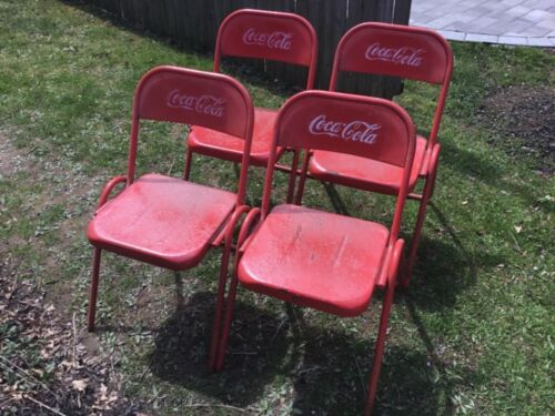 Set of 4 Vintage Coca Cola Coke Cafe Metal Advertising Chairs