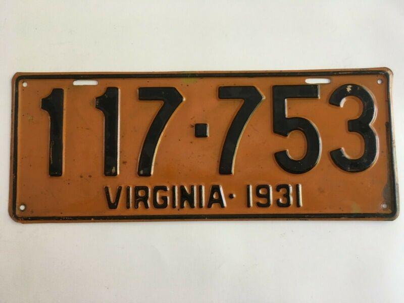 1931 Virginia License Plate All Original Paint STILL GLOSSY