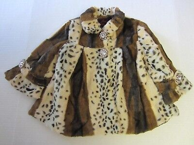 Girls Coat Clearance (Lilly Patricia Coat XS 4 Brown Faux Fur Animal Print Girl CLEARANCE)
