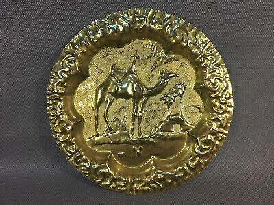 Antique Plate Copper Hammered of Maghreb Deco Dromedary Camel Desert