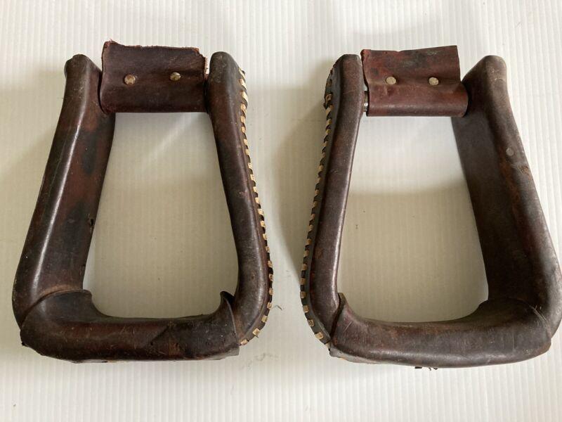 Used/Vintage Western Saddle Stirrups Tack, Big Bell Roping Leather Covered