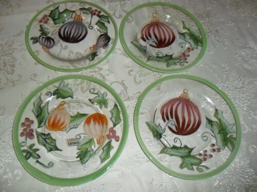 """ZRIKE HOLIDAY HOLLY GLASS BOWLS  SET OF 4 HANDPAINTED 8"""""""