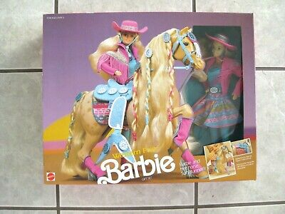 #5408 WESTERN FUN BARBIE GIFT SET WITH SUN RUNNER HORSE (c)1990